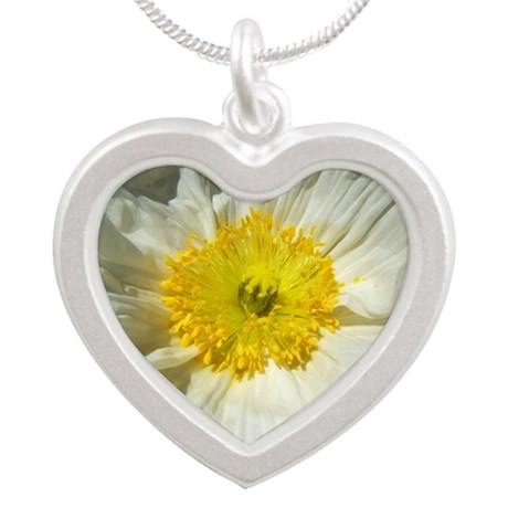White Icelandic Poppy Silver Heart Necklace