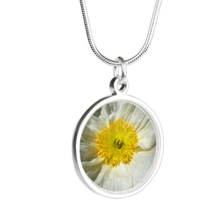 White Icelandic Poppy Silver Round Necklace