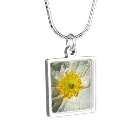 White Icelandic Poppy Silver Square Necklace