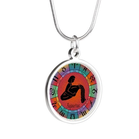 Aquarius the Water Bearer Silver Round Necklace