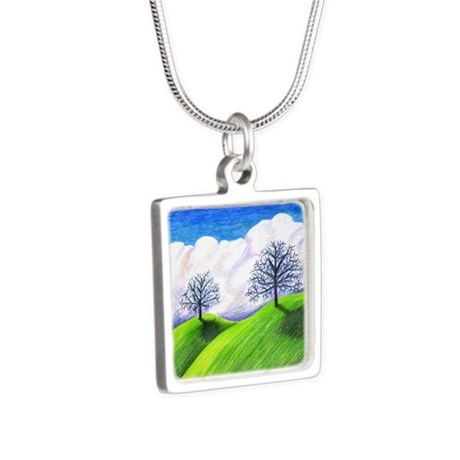 California Spring Silver Square Necklace