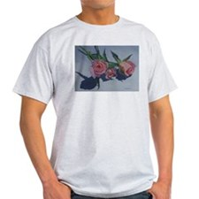 Pink Sweetheart Roses Ash Grey T-Shirt