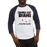 zombies eat brains youre safe funny Baseball Jerse