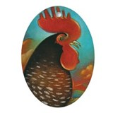 Rooster Red Oval Ornament