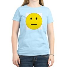 Poker Face Emoticon Women's Pink T-Shirt