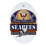 US Navy Seabees Blue We Fight Ornament (Oval)