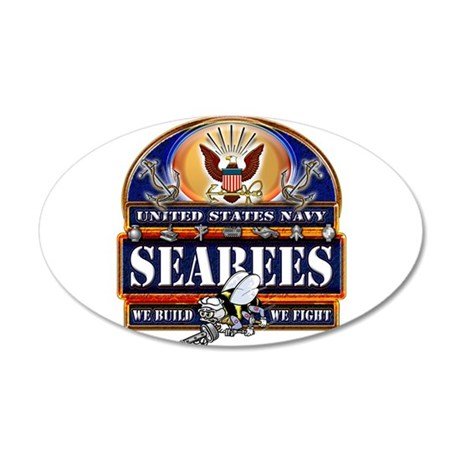 US Navy Seabees Blue We Fight 20x12 Oval Wall Deca