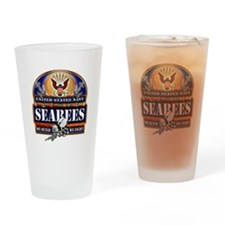US Navy Seabees Blue We Fight Drinking Glass