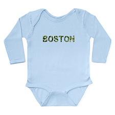 Boston, Vintage Camo, Long Sleeve Infant Bodysuit