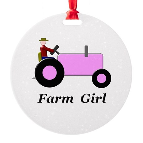 Farm Girl Pink Tractor Round Ornament