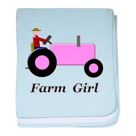 Farm Girl Pink Tractor baby blanket