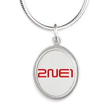 2NE1 logo 3000-500 Silver Oval Necklace