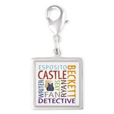 Castle Fan Silver Square Charm