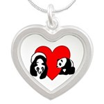 Panda Bear Love Silver Heart Necklace