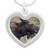 Moose Portrait Silver Heart Necklace
