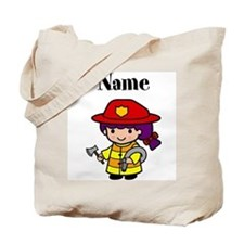 Personalized Girl Firefighter Tote Bag