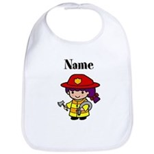 Personalized Girl Firefighter Bib