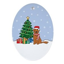 Red Golden Retriever Christmas Oval Ornament
