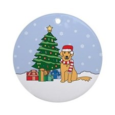 Golden Retriever Christmas Round Ornament