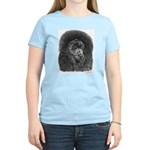 Black Poodle (Front only) Women's Pink T-Shirt