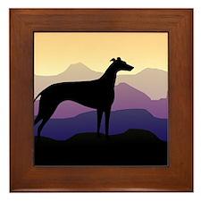 greyhound dog purple mountains Framed Tile