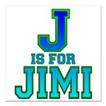J is for Jimi Square Car Magnet 3