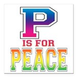 P is for Peace Square Car Magnet 3