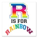 R is for Rainbow Square Car Magnet 3