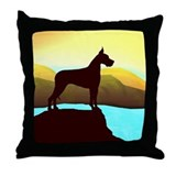 Great Dane By the Sea Throw Pillow