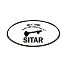 Sitar silhouette designs Patches