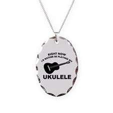 Ukulele silhouette designs Necklace Oval Charm