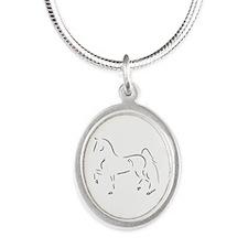Unique Saddlebred Silver Oval Necklace