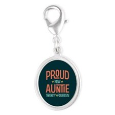 Proud New Auntie 2014 Silver Oval Charm