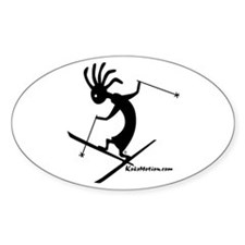 Kokopelli Extreme Skier Oval Stickers