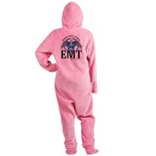 EMT-Caduceus-Blue.png Footed Pajamas