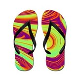 Psychedelic Hippy red/green/yellow Flip Flops