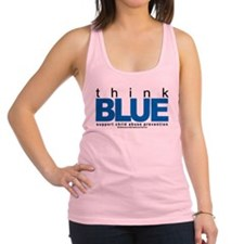 Child-Abuse-THINK-Blue.png Racerback Tank Top