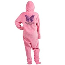 Fibromyalgia-Butterfly.png Footed Pajamas