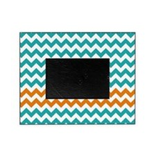 Chevron Stripes - Turquoise and Orange Picture Frame