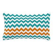 Chevron Stripes - Turquoise and Orange Pillow Case