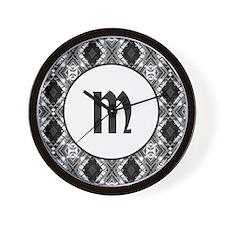 Diamond Black Monogram Wall Clock