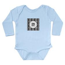Diamond Black Monogram Long Sleeve Infant Bodysuit