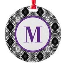 Diamond Purple Monogram Round Ornament