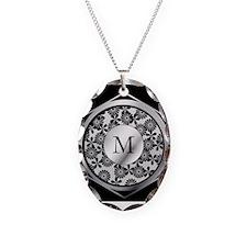 Personalized monogram ornate silver and black Neck