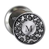 Ornate patterned monogram silver and black print 2
