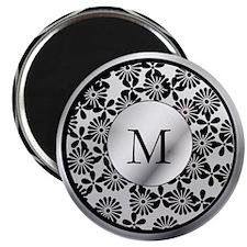 Ornate patterned monogram silver and black print M