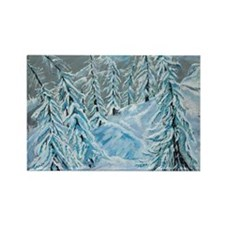 Skiing Through The Trees Rectangle Magnet (100 pac