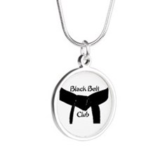 Martial Arts Black Belt Club Silver Round Necklace