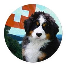 Swiss Berner Puppy Round Car Magnet