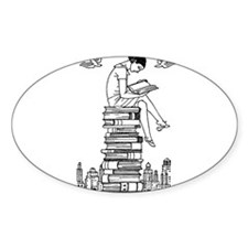 Reading Girl atop books Bumper Stickers